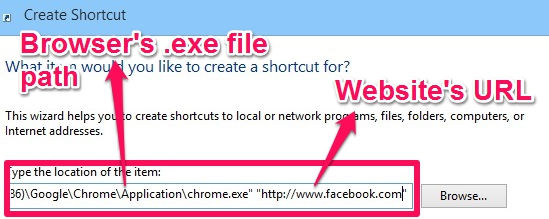 Pin Websites-Add Browser Path with URL of website