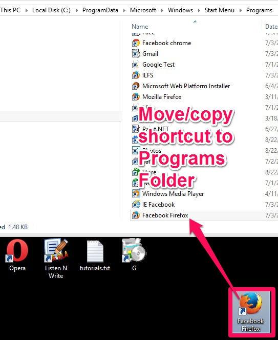 Pin Websites-Move shortcut