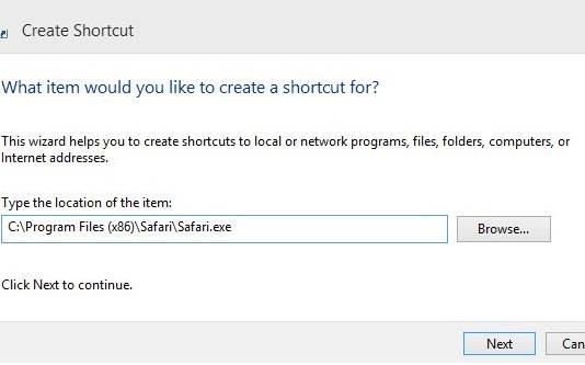 Quick Launch-Create Shortcut
