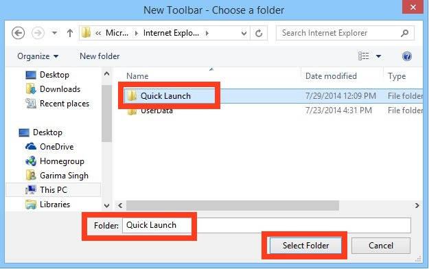 Quick Launch-Folder