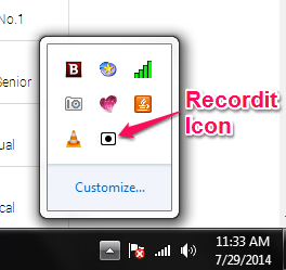 Recordit Icon in Notification Tray