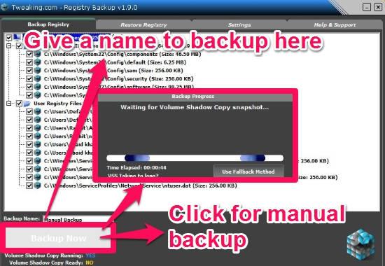 Registry Backup-Backup Now