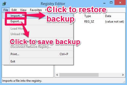 Registry Backup-Ooptions