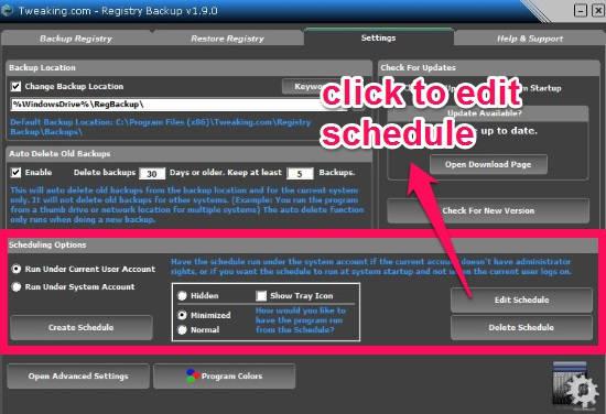 Registry Backup-Scheduling option
