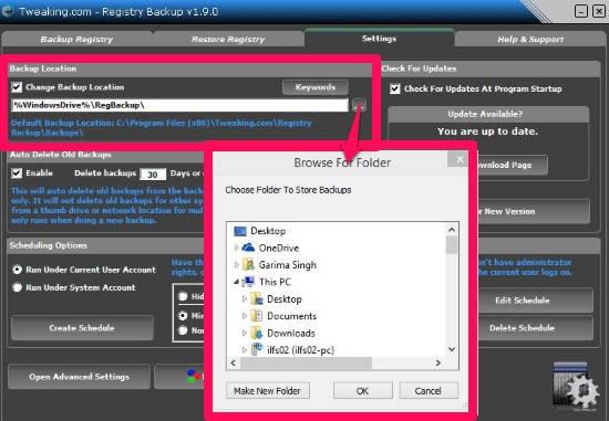 Registry Backup-Set Location