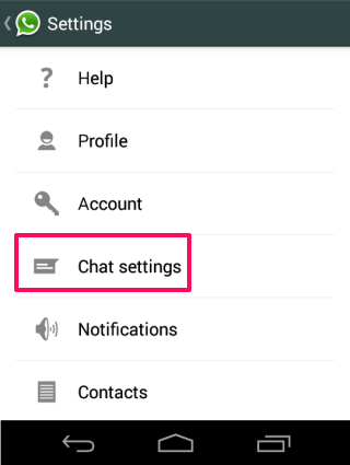 Select Chat Settings
