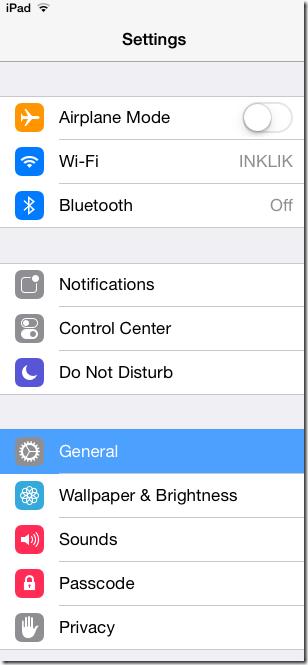 Settings option