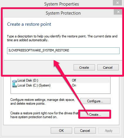 System Restore-System Restore Point Name