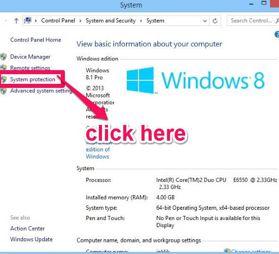 System Restore-System options