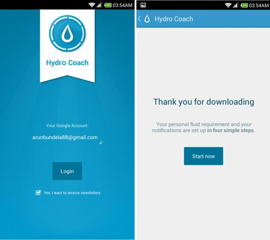 Using Hydro Coach for Android