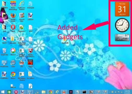 Windows 8 Desktop Gadgets-Add Gadgets