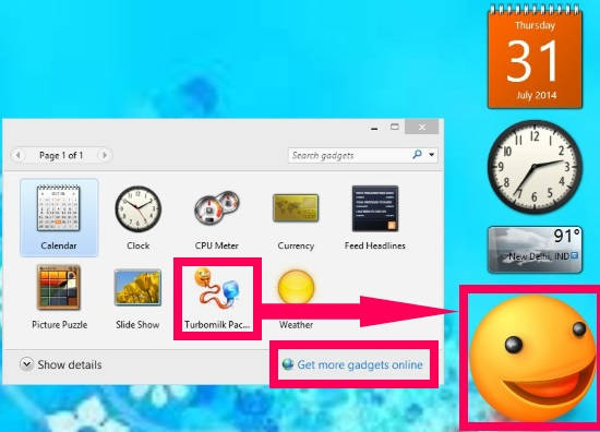 Windows 8 Desktop Gadgets-Add Online