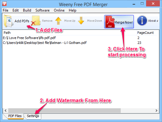 add watermark to PDF - Weeny Free PDF Merger