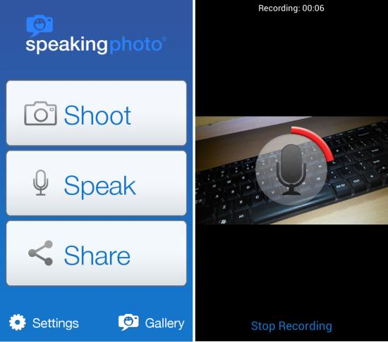 adding sound to images SpeakingPhoto for Android