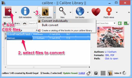 cbr to pdf converter - Calibre