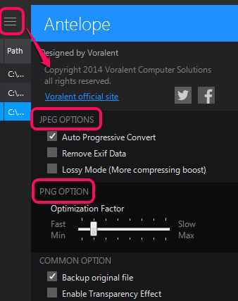 change settings
