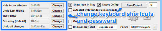 change shortcuts and password