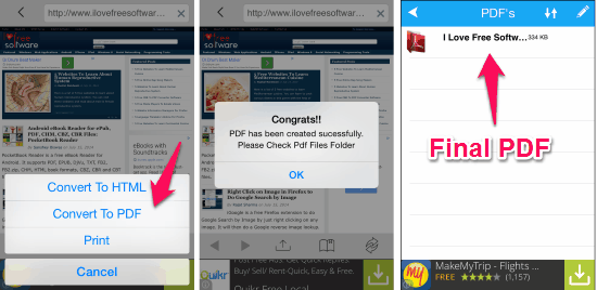 convert web page to pdf iphone