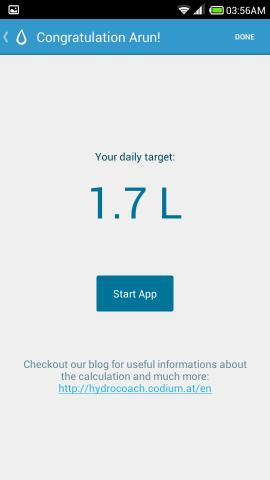 daily calculated target hydro coach for android