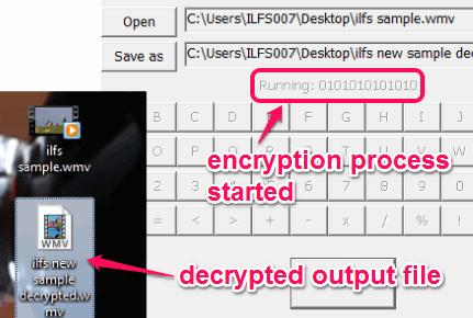 decrypted output file