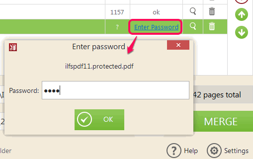 enter password for password protected PDF files