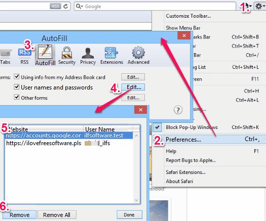 how to delete saved passwords - Safari