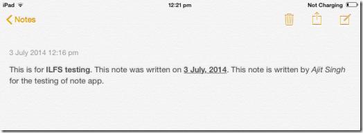 iPad Note App In iOS 8