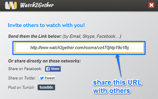invite to watch video watch2gether