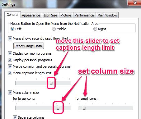 set column size