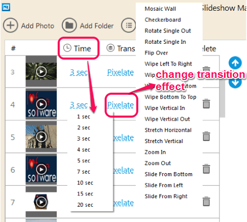 set separate time and transition effect for each image