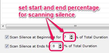 set silence percentage for scanning