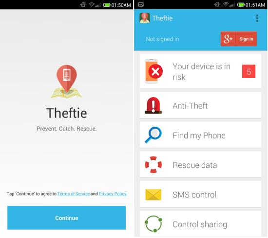 setting up Theftie for Android