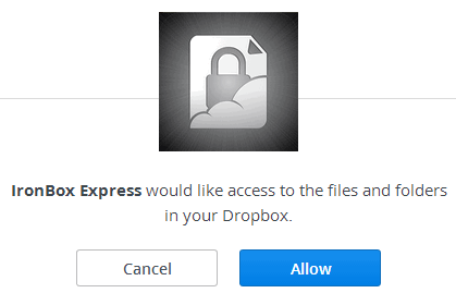 sign in and authorize IronBox Express