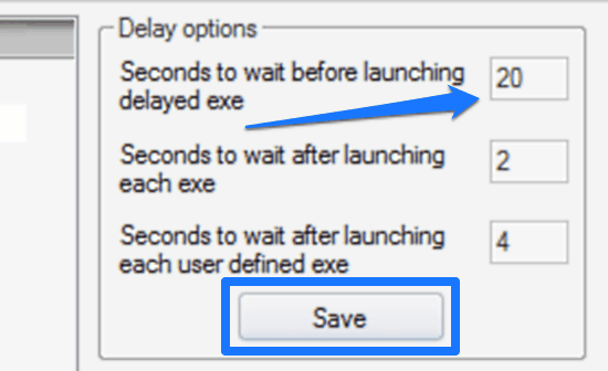 specify time delay