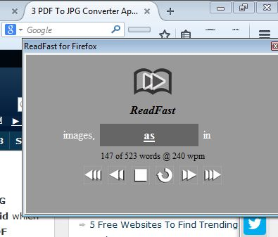 speed reading addons for firefox 1