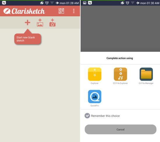 using  Clarisketch for android