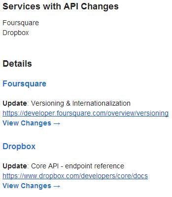 API Change Notification