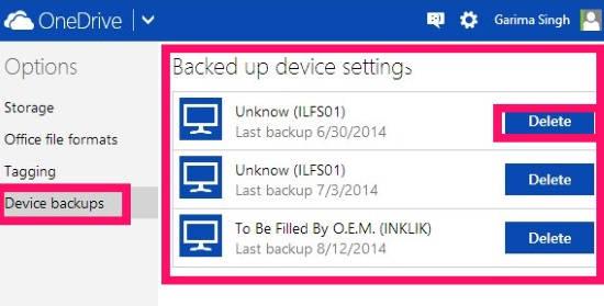 Back Up Settings-Delete