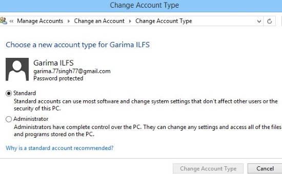 Change Account Type-Control Panel
