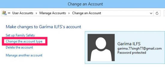 Change Account Type-Manage another account link