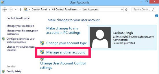Change Account Type-Manage another account