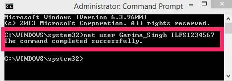 Change Password Windows 8- CMD