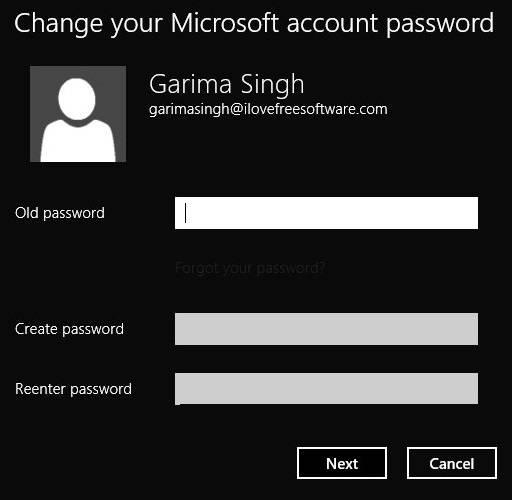 Change Password Windows 8- Create Password