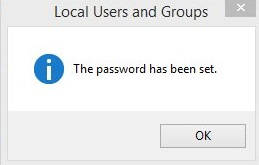 Change Password Windows 8- Password set
