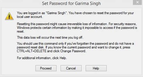 Change Password Windows 8- Proceed