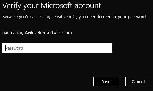 Change Password Windows 8- Verify account