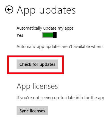 Check for App Updates-Option