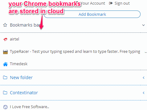 Chrome bookmarks stored in cloud