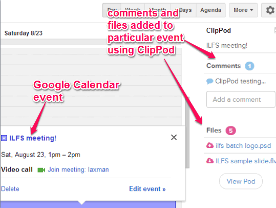 ClipPod- add notes and attachements to Google Calendar event