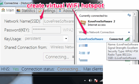 Connectme- (Hotspot)- create virtual WiFi hotspot